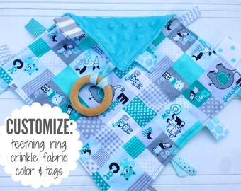 Baby Sensory Tag Blanket | Options: Natural Teething Ring, Crinkle Material, Color | Animal Alphabet in Turquoise
