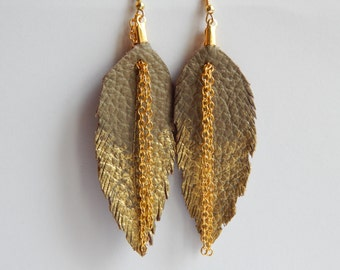 BEST SELLERS Taupe and gold Leather Feather Earrings Ready to Ship