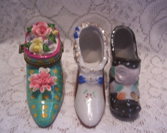 Three Miniature Porcelain High Heel Shoes
