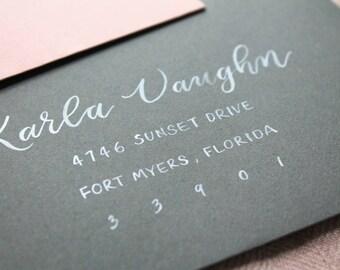 Brush Calligraphy Wedding Envelopes | Wedding & Party Invitation Envelopes | Brush Lettering Hand Addressed Envelopes