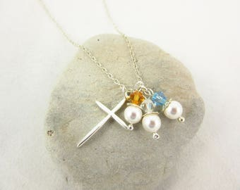 Mother's Day Birthstone Necklace Custom Necklace Your Choice of Birthstones Sterling Silver 18inch Necklace