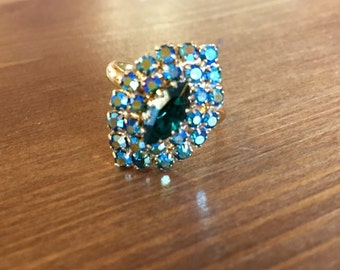 Aqua & Emerald rhinestone adjustable ring 1970s