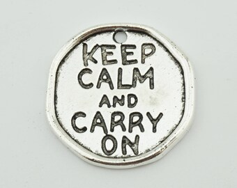 "5pcs 27mm Letter ""Keep Calm And Carry On"" Charms Jewelry Pendants Findings ML"