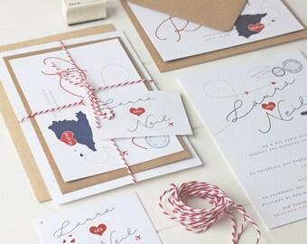 Destination Wedding Invitation - Bonvoyage