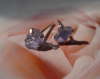 Raw Rough Tanzanite Earrings -  Post Earrings - Tanzanite Stud Earrings - Sterling Silver Earrings  E375
