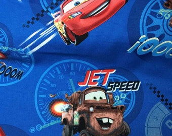 Cars The Movie Lightning McQueen Fabric By the Yard or Half Yard Pixar Mater Disney Blue Cotton Quilting Apparel Fabric r17