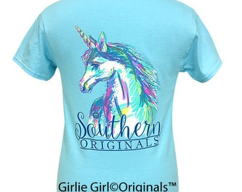 Girlie Girl Originals Watercolor Unicorn Sky Blue Short Sleeve T-Shirt