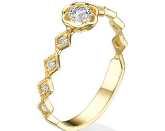 Yellow gold ring,  Flower ring, Diamond ring, Engagement ring, Floral ring, Promise ring, 14K yellow ring, Unique engagement ring, Gift ring