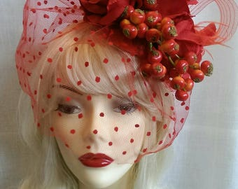 Vintage style berries all red  fascinator with veil