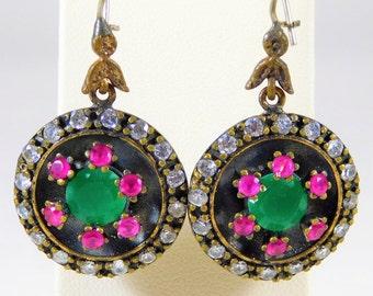 Handmade Sterling Silver Earrings with Rhinestones and Gemstones