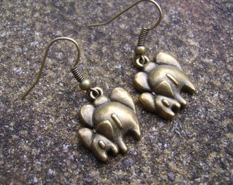 Elephant Earrings. Antique Bronze Elephant Earrings. Mother And Baby Elephant Earrings. Charm Earrings. Gift For Elephant Lover's.