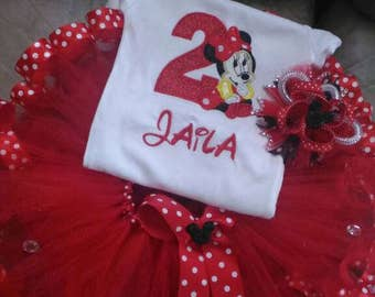 Minnie mouse tutu set, Minnie mouse birthday outfit, first birthday outfit, Minnie mouse tutu dress, personalized outfit