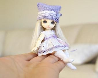 Hand knitting: Set for Lati White SP (12 cm) - dress, jacket, cap