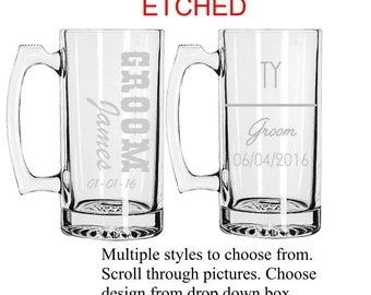 Set of 11 Personalized Groomsmen Beer Mugs, Custom Groomsmen Beer Mugs, Unique Groomsmen Mugs, Beer Mug Glasses