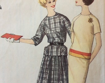 Simplicity 4321 junior misses two piece dress size 11 bust 31.5 bust 31 1/2 vintage 1960's sewing pattern