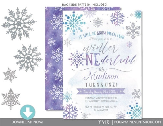 Winter ONEderland Snowflake Birthday Invitation - First Birthday Wonderland Snowflake Invite - Instant Download Edit In Adobe Reader