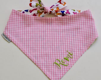 Pink Personalized Gingham Bandana    Reversible Dog Bones Southern Classic Tie Pet Scarf    Puppy Gift by Three Spoiled Dogs