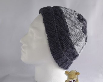 Men's knitted hat - beanie style hat -  grey