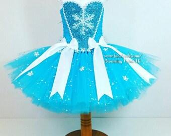 Ice Queen Elsa Super Sparkly Tutu Dress- SHORT- Birthday, Party, Pageant, Fancy Dress,Princess