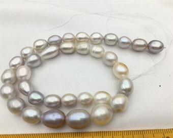 AA 8.5-9.5x10-11mm natural gray color rice pearl,for leather necklace,pearl choker ...