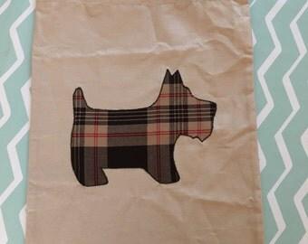 Tartan Scottie Dog tote bag handmade