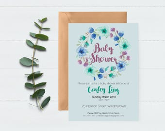 Baby Shower Invitation | Baby Shower Invite, Floral Wreath Invite. It's a Girl, It's a Boy