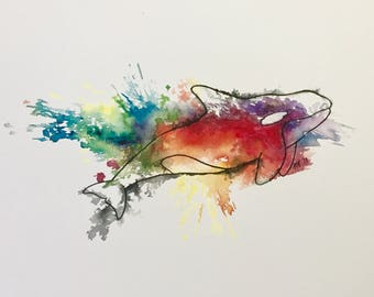 Watercolor Orca Print