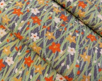 Chirimen crepe silk Kimono fabric - spring floral - by the yard