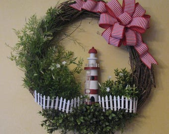 Red & White Lighthouse Grapevine Wreath