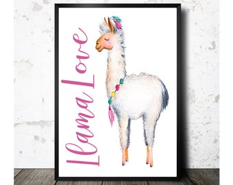 Llama Wall Art, Llama Love,Printable Art, Llama Decor, Llama Art, Llama Watercolor, Home Decor, Nursery Decor, Digital Art, Instant Download