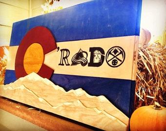 Colorado Flag- C'RADO Wooden