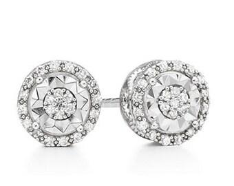 1/10th Carat Diamond Stud Earrings