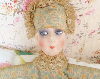 Vintage 1920's Boudoir Doll. Art Deco Flapper Doll. Poupee De Salon. Antique Papier Mache Doll Hanger. Bed Doll.