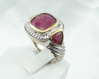 Unusual Ruby Gold And  Sterling Silver Decorative Ring Size 10 #RUBIES-SR3