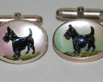 Genuine Vintage 1940s-1970s Reverse Crystal Sterling Silver Scotty or Scottie Dog Cuff Links-- Free Shipping!