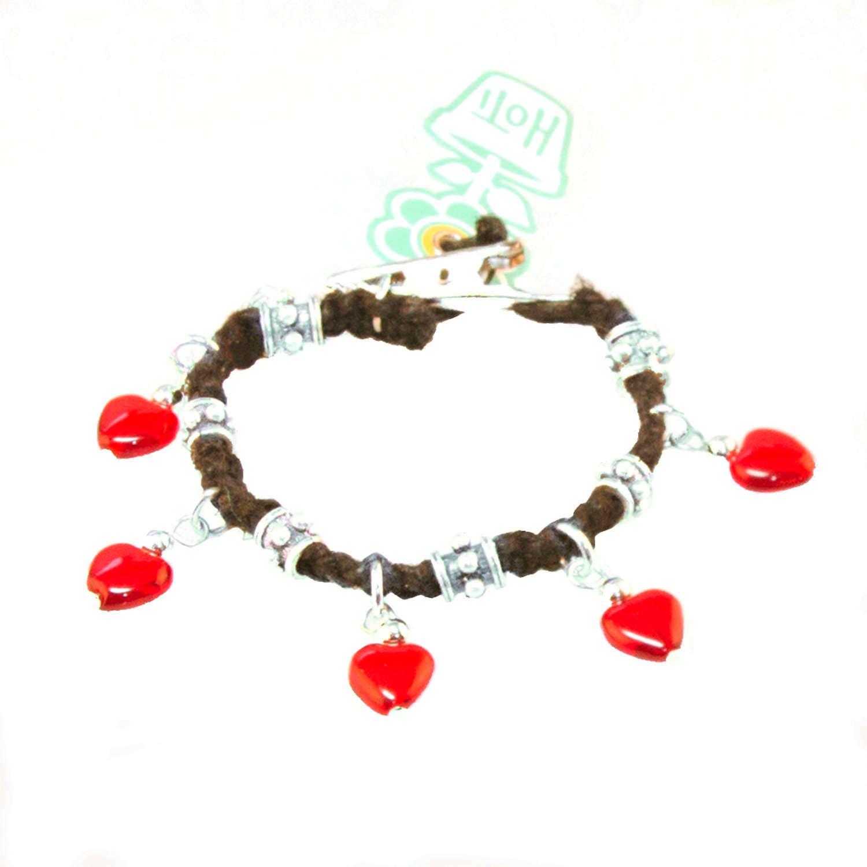 I Heart Rock Black Hemp Metal Bead Hoti Handmade Red Glass Heart Charm  Bracelet Ladies Beaded Love Rocks Hand Crafted Charms 420 Roach Clip