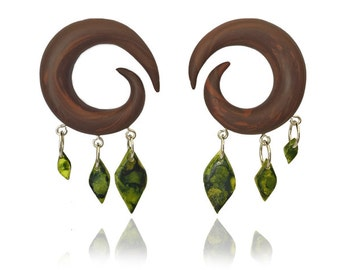 "Leaf and Wood Gauges - Tree Earrings For Stretched Lobes - Fake, 2g, 0g, 00g, 7/16"", 1/2"" - Nature Gauges - Gauged"