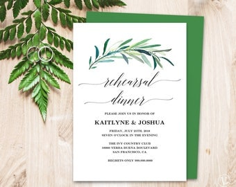 Printable Wedding Rehearsal Dinner Invitation Card Template, Eucalyptus Greenery Rehearsal Dinner Card, 5x7 inches, Eucalyptus