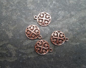 Small Clover Heart charms Copper Finish perfect for adjustable bangle bracelets Irish Charms Package of 4 charms