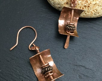 Rustic dangle earrings , rustic copper , boho copper earrings , artisan earrings , copper jewelry, hammered copper,
