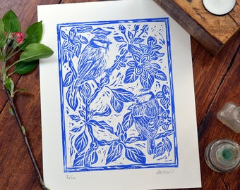 Blue tits & apple blossom - linocut print, blue, hand pulled, limited edition, British birds and gardens
