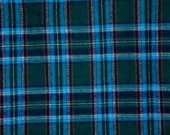 "Vintage plaid wool - turquoise green blue wool 53""x50"""