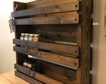 Spice rack, Rustic spice rack with 3 shelves,  Kitchen organizer, Rustic kitchen shelves, Wood wall mounted spice organizer