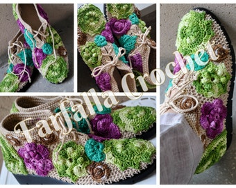 Crocheted shoes, Irish crochet shoes, Spring-Summer-Autumn, Outdoor shoes, Slipper shoes