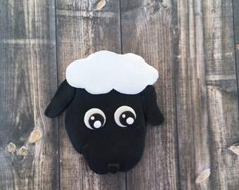 Black Sheep Magnet/black sheep present/sheep decor/farmyard animals/nursery rhyme/fridge magnet/sheep present/Black Lamb/lamb decor