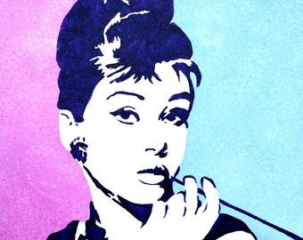 Audrey Hepburn Breakfast at Tiffany's acrylic painting - Audrey Hepburn Wall Art - Audrey Hepburn Art - Holly Golightly - Movie Art