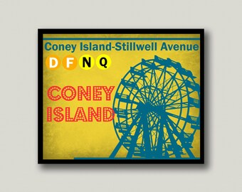 Coney Island, New York City, New York City Subway, Printable Art, Instant Download