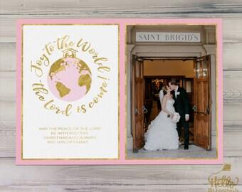Joy to the World | Christian Printable Christmas Card | Digital Photo Christmas Card | Pink