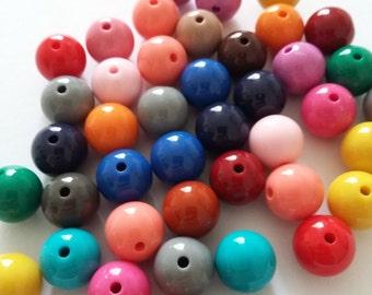 50pcs Assorted Acrylic Beads - 10mm Beads - Plastic Beads - Craft Beads - Jewelry Making Supplies - B0083276