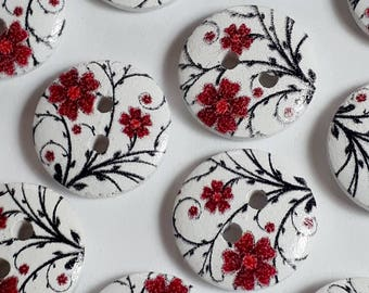 25pcs Red Flower Buttons - White Buttons - Wooden Buttons - 2 Hole Buttons - Sewing Buttons - Scrapbook Supplies - 15mm Buttons - B33851